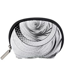 Enso, a Perfect Black and White Zen Fractal Circle Accessory Pouches (Small)