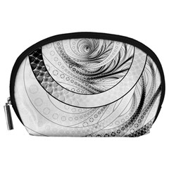 Enso, a Perfect Black and White Zen Fractal Circle Accessory Pouches (Large)