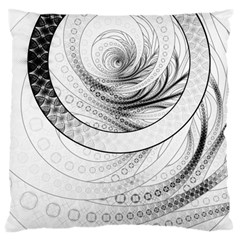 Enso, a Perfect Black and White Zen Fractal Circle Large Flano Cushion Case (One Side)
