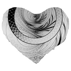 Enso, a Perfect Black and White Zen Fractal Circle Large 19  Premium Flano Heart Shape Cushions