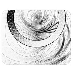 Enso, A Perfect Black And White Zen Fractal Circle Double Sided Flano Blanket (medium)