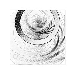 Enso, a Perfect Black and White Zen Fractal Circle Small Satin Scarf (Square)