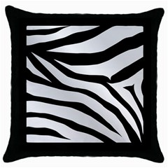 White Tiger Skin Throw Pillow Case (Black)