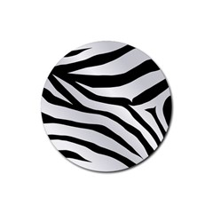 White Tiger Skin Rubber Round Coaster (4 Pack)
