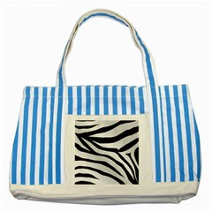 White Tiger Skin Striped Blue Tote Bag