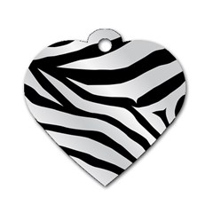 White Tiger Skin Dog Tag Heart (One Side)