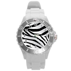 White Tiger Skin Round Plastic Sport Watch (L)