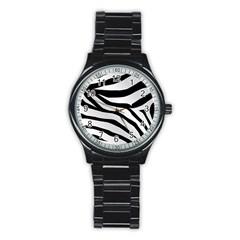 White Tiger Skin Stainless Steel Round Watch