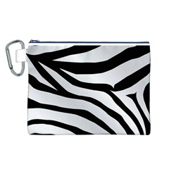 White Tiger Skin Canvas Cosmetic Bag (l)