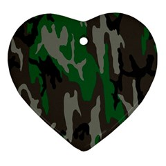 Army Green Camouflage Ornament (Heart)