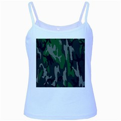 Army Green Camouflage Baby Blue Spaghetti Tank