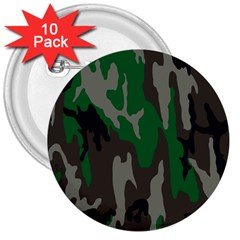 Army Green Camouflage 3  Buttons (10 Pack)