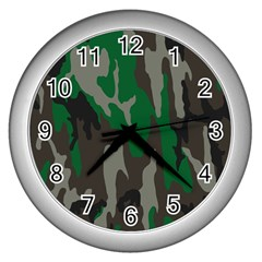 Army Green Camouflage Wall Clocks (Silver)