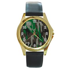Army Green Camouflage Round Gold Metal Watch