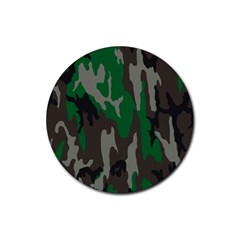 Army Green Camouflage Rubber Coaster (Round)