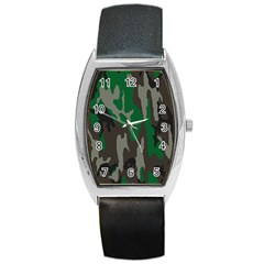Army Green Camouflage Barrel Style Metal Watch