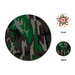Army Green Camouflage Playing Cards (Round)