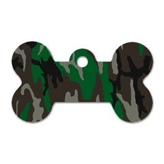 Army Green Camouflage Dog Tag Bone (One Side)