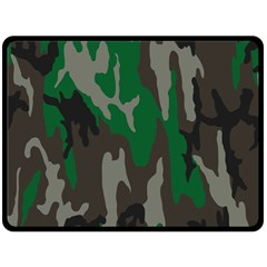 Army Green Camouflage Fleece Blanket (Large)