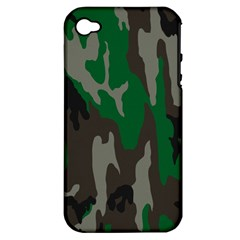 Army Green Camouflage Apple Iphone 4/4s Hardshell Case (pc+silicone)