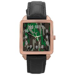 Army Green Camouflage Rose Gold Leather Watch