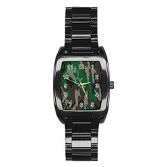 Army Green Camouflage Stainless Steel Barrel Watch
