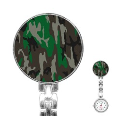 Army Green Camouflage Stainless Steel Nurses Watch