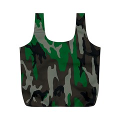 Army Green Camouflage Full Print Recycle Bags (M)