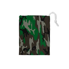 Army Green Camouflage Drawstring Pouches (Small)