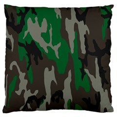 Army Green Camouflage Large Flano Cushion Case (two Sides)