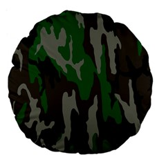 Army Green Camouflage Large 18  Premium Flano Round Cushions