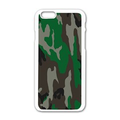Army Green Camouflage Apple iPhone 6/6S White Enamel Case