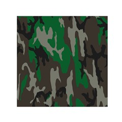 Army Green Camouflage Small Satin Scarf (square)