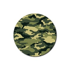 Camouflage Camo Pattern Rubber Round Coaster (4 pack)