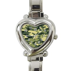 Camouflage Camo Pattern Heart Italian Charm Watch