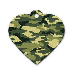 Camouflage Camo Pattern Dog Tag Heart (two Sides)