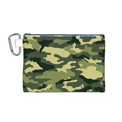 Camouflage Camo Pattern Canvas Cosmetic Bag (m)