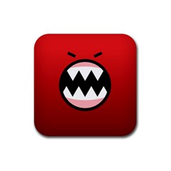 Funny Angry Rubber Square Coaster (4 Pack)
