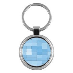 Blue Squares Iphone 5 Wallpaper Key Chains (Round)