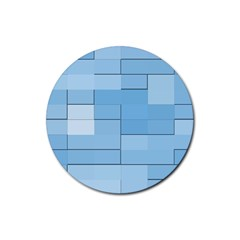 Blue Squares Iphone 5 Wallpaper Rubber Coaster (Round)
