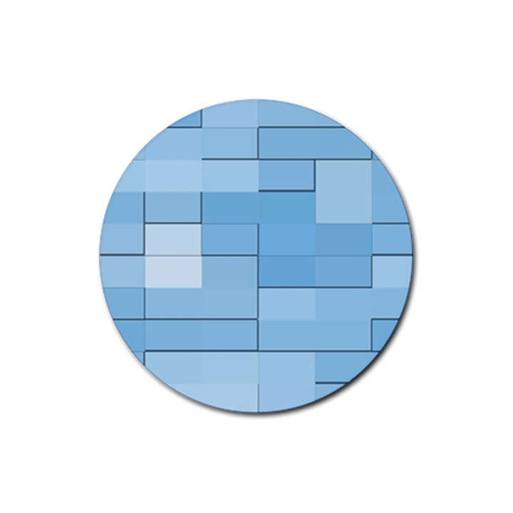 Blue Squares Iphone 5 Wallpaper Rubber Round Coaster (4 pack)