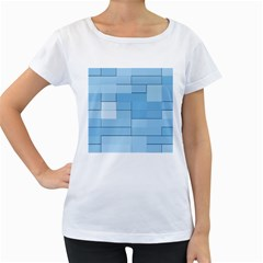 Blue Squares Iphone 5 Wallpaper Women s Loose-Fit T-Shirt (White)