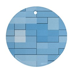 Blue Squares Iphone 5 Wallpaper Round Ornament (Two Sides)