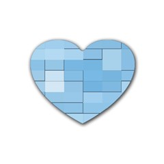 Blue Squares Iphone 5 Wallpaper Heart Coaster (4 pack)