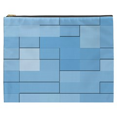 Blue Squares Iphone 5 Wallpaper Cosmetic Bag (XXXL)