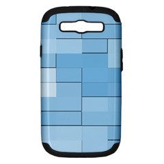 Blue Squares Iphone 5 Wallpaper Samsung Galaxy S III Hardshell Case (PC+Silicone)