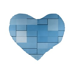 Blue Squares Iphone 5 Wallpaper Standard 16  Premium Heart Shape Cushions