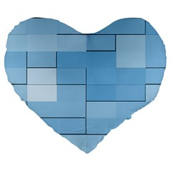 Blue Squares Iphone 5 Wallpaper Large 19  Premium Heart Shape Cushions