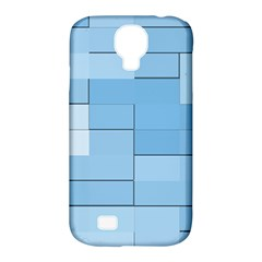 Blue Squares Iphone 5 Wallpaper Samsung Galaxy S4 Classic Hardshell Case (pc+silicone)