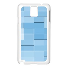 Blue Squares Iphone 5 Wallpaper Samsung Galaxy Note 3 N9005 Case (White)